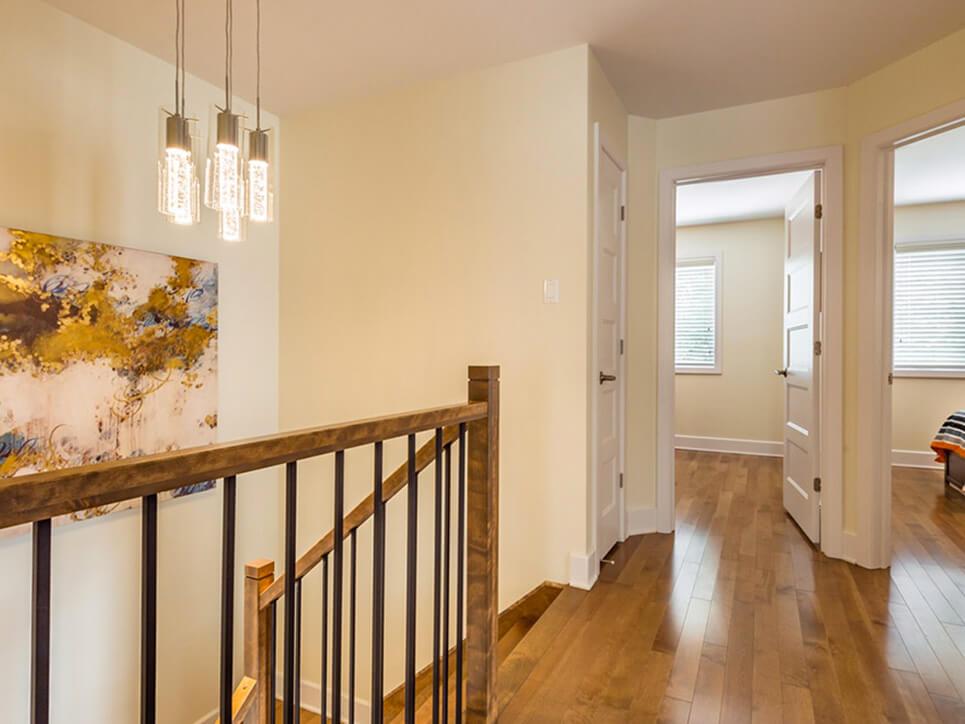 escaliers domaine evergreen montréal construction neuve projet immobilier rive nord maisons de ville