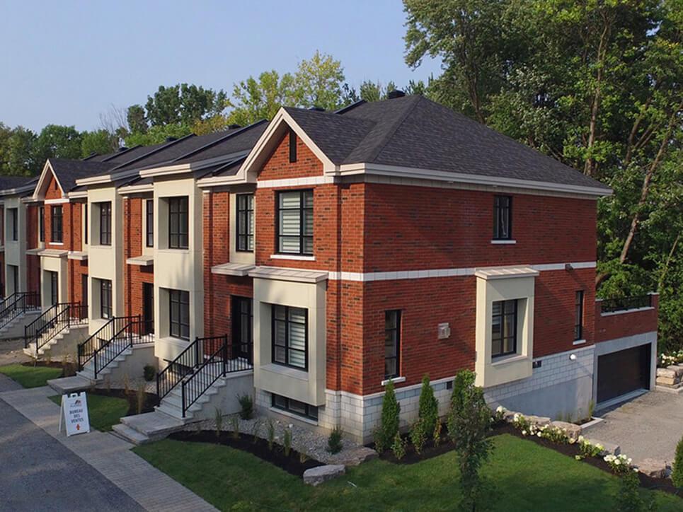 extérieur domaine evergreen montréal construction neuve projet immobilier rive nord maisons de ville