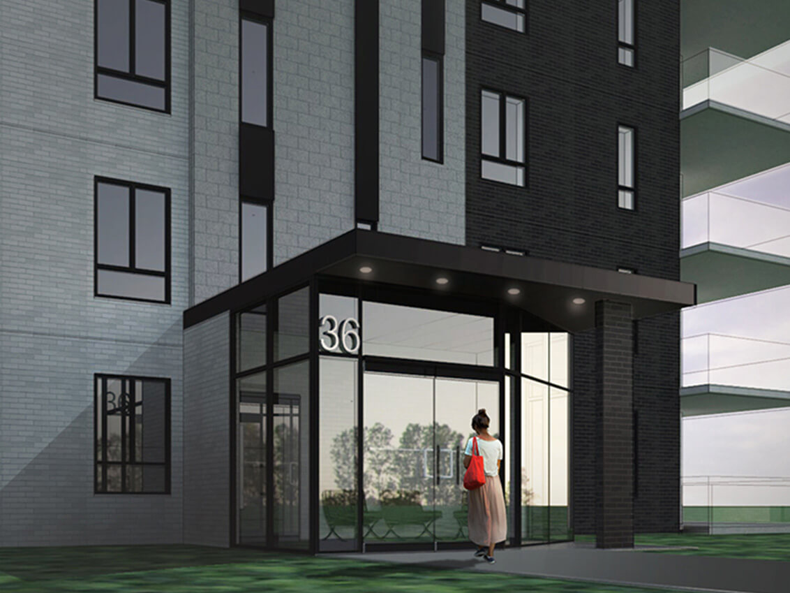 entrée station 56 construction neuve projet immobilier rive nord condo