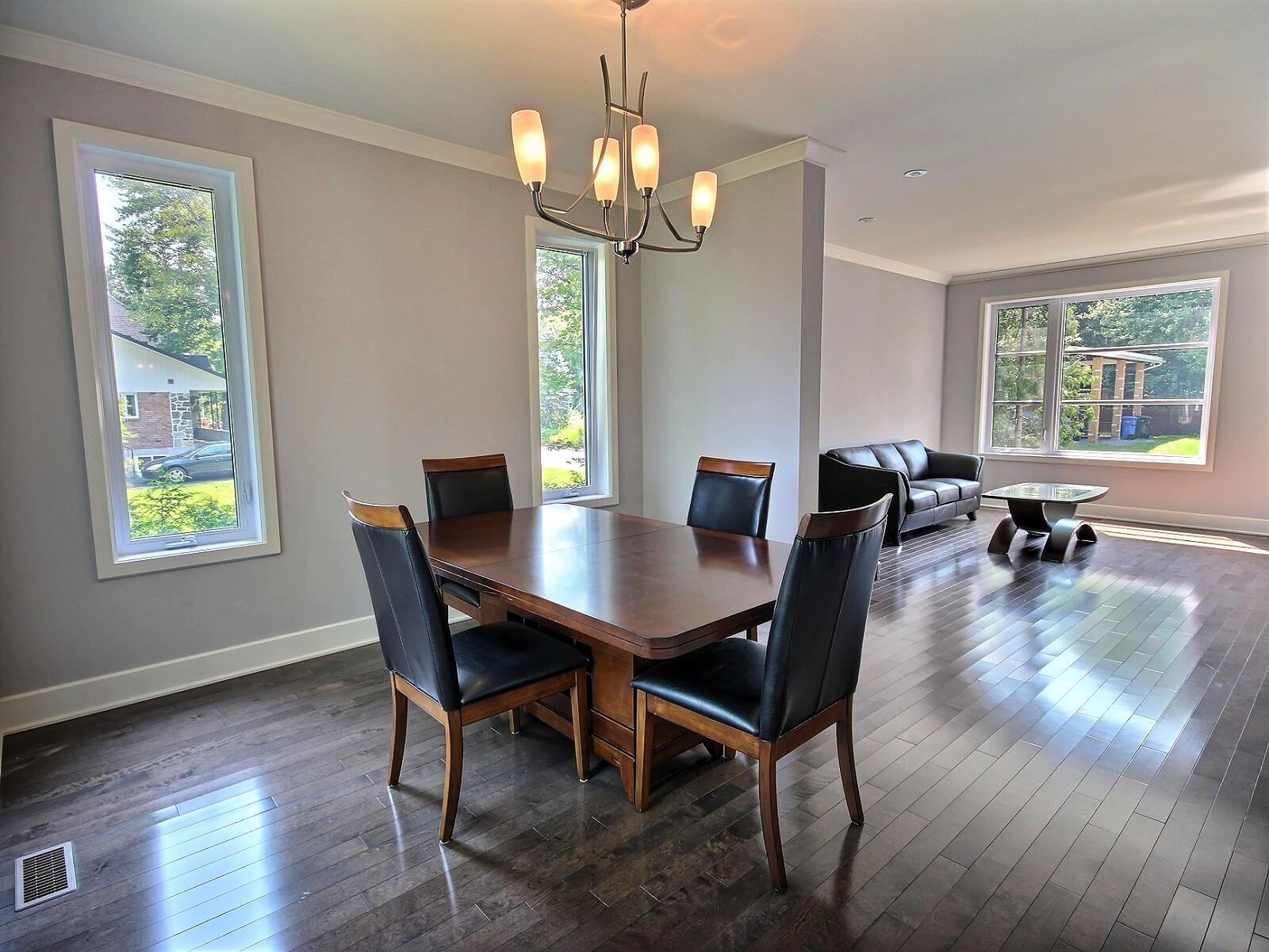 salle à manger boisé côte saint-louis construction neuve projet immobilier rive nord